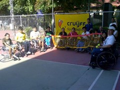 Disabled schoolchildren in Pattaya receive a donation of tennis nets and low compression balls